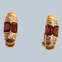 Estate 14K Madeira Garnet and Diamond Omega Earrings