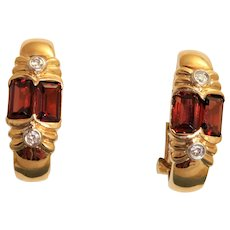 Estate 14K Madera Garnet and Diamond Omega Earrings