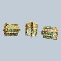 Estate 14K Tsavorite Garnet and Diamond Earrings with Pendant