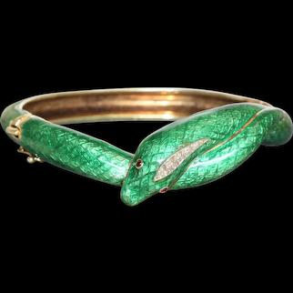 Estate 14K Martine Enamel and Diamond Snake Bracelet