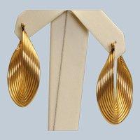 Estate 14K Ridged Mobius Hoop Earrings