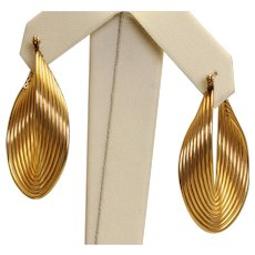 Estate 14K Ridged Mobius Hoop Earrings