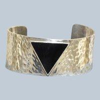 Hammered Sterling Onyx Modernist Cuff Bracelet