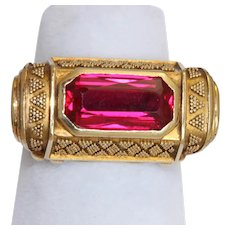Estate 14K Red Stone Etruscan Revival Ring