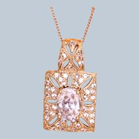 Estate 14K Kunzite Rose Gold Filigree Necklace