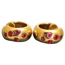 Estate 18K Ruby Huggie Etiole Earrings