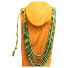 "Estate 30"" Natural Untreated Emerald Necklace"