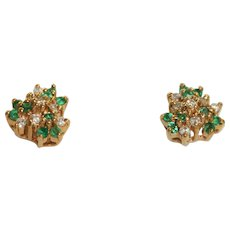 Estate 14K Diamond and Emerald Stud Earrings