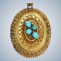 Vintage 15 CT Etruscan Revival Turquoise Locket