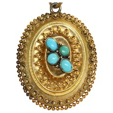 Vintage 15 CT Etruscan Revival Turquoise Locket