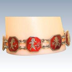 Vintage Sterling Red Enamel Siam Bracelet