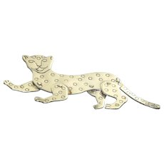 Estate Woods Sterling Articulated Leopard Pin