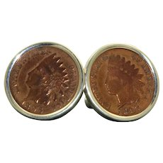 1896 and 1897 Indian Head Penny Sterling Silver Cuff Links