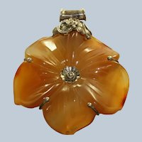 Estate Sterling Carnelian Hand Carved Flower Pendant