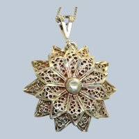Estate Sterling Filigree Flower Pendant and Chain