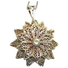 Estate Sterling Filigree Flower Pendant and Chain