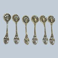Set of 6 Sterling Pierced Salt Spoons