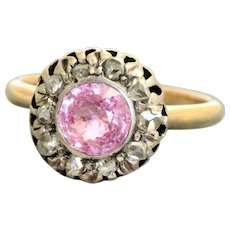 14K Victorian Pink Sapphire and Rose Cut Diamond Ring