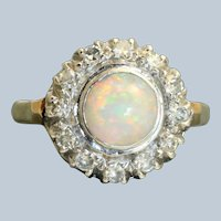 Estate 14K 1.87 CT Opal and Diamond Halo Ring