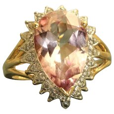 Estate 14K 5 CT Pear Shaped Morganite and Diamond Ring