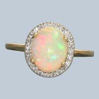Estate 14K Ethiopian Opal and Diamond Ring