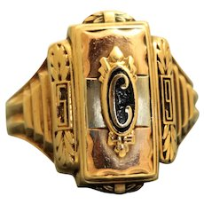 Estate 1959 10K Josten Two Color Gold and Enamel College Ring