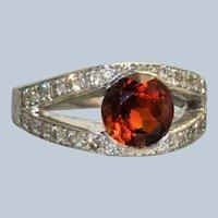 18K 2.92 CT Spessartine Garnet and Diamond Ring