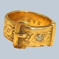 1933 18K Buckle and Diamond Ring, London