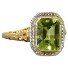 Estate 14K Emerald Cut Peridot and Diamond Filigree Ring