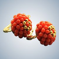 Estate 14K Coral Earrings, Italy