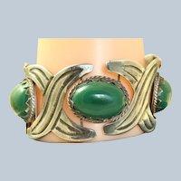 Large Vintage Silver Green Stone Bracelet