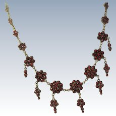 Vintage Garnet Low Carat Gold Necklace