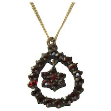 Garnet Pendant on Gold Filled Chain