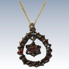 Garnet Pendant on Gold Filled Chain