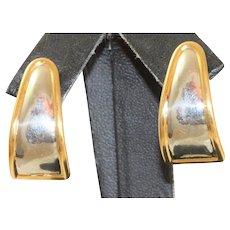 Platinum and 18 K Half Hoop Modernist Earrings