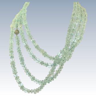 """Estate 14 K  76"""" Natural Aquamarine Bead Necklace"""
