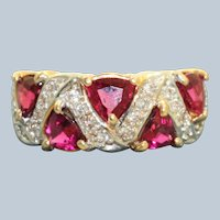 Estate 14 K 2.5 CT Tourmaline and Diamond Band