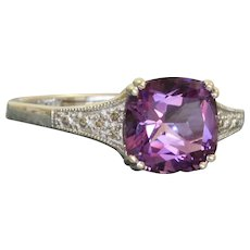 Estate 14 K 2 CT Faceted Amethyst and Diamond Ring