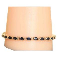 Estate 14K Oval Sapphire and Diamond Tennis Bracelet