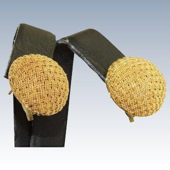 Estate 18 K Italian Hand Twisted Wire Button Earrings