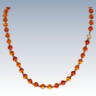 Estate 14 K and Amber Bead Necklace