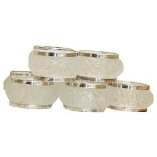 8 Estate Lalique Style Glass and Silver Napkin Rings