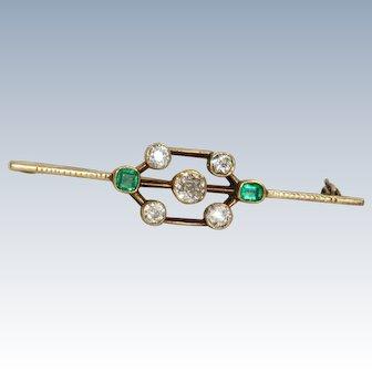 14 K Art Deco Diamond and Emerald Brooch