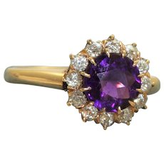 Estate 14K Rose Cut Diamond and Amethyst Ring