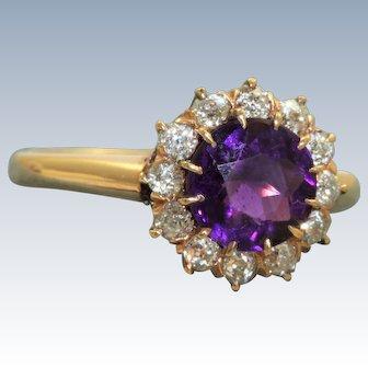 Estate Rose Cut Diamond and Amethyst Ring