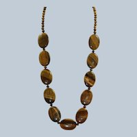 "Estate Sterling 27"" Large Bead Tiger's Eye Necklace"