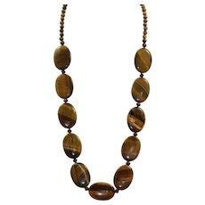 "Estate Sterling 27"" Large Bead Tiger's Eye Necklace"