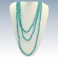 """Estate 80"""" Hand Tied Turquoise Bead Necklace"""