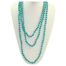 "Estate 80"" Hand Tied Turquoise Bead Necklace"