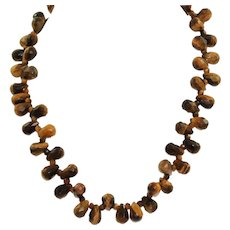 "Estate Sterling Faceted 18"" Tiger's Eye Necklace"